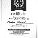 Certyfikat profesjonalnego doradcy suplementacyjnego największego producenta suplementów diety w Europie firmy - Olimp Nutrition