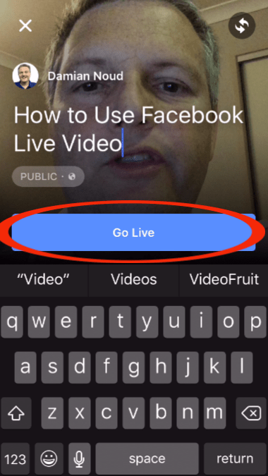 Start your Facebook Live video