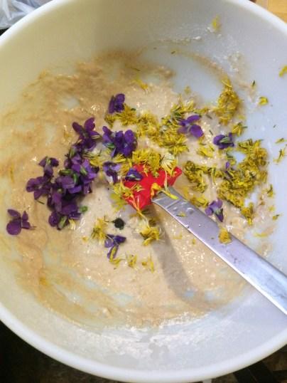 Flower pancake batter with dandelion and violets