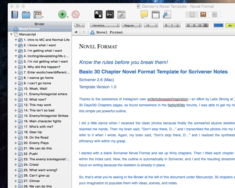 free scrivener template 30 chapter novel format damien benoit