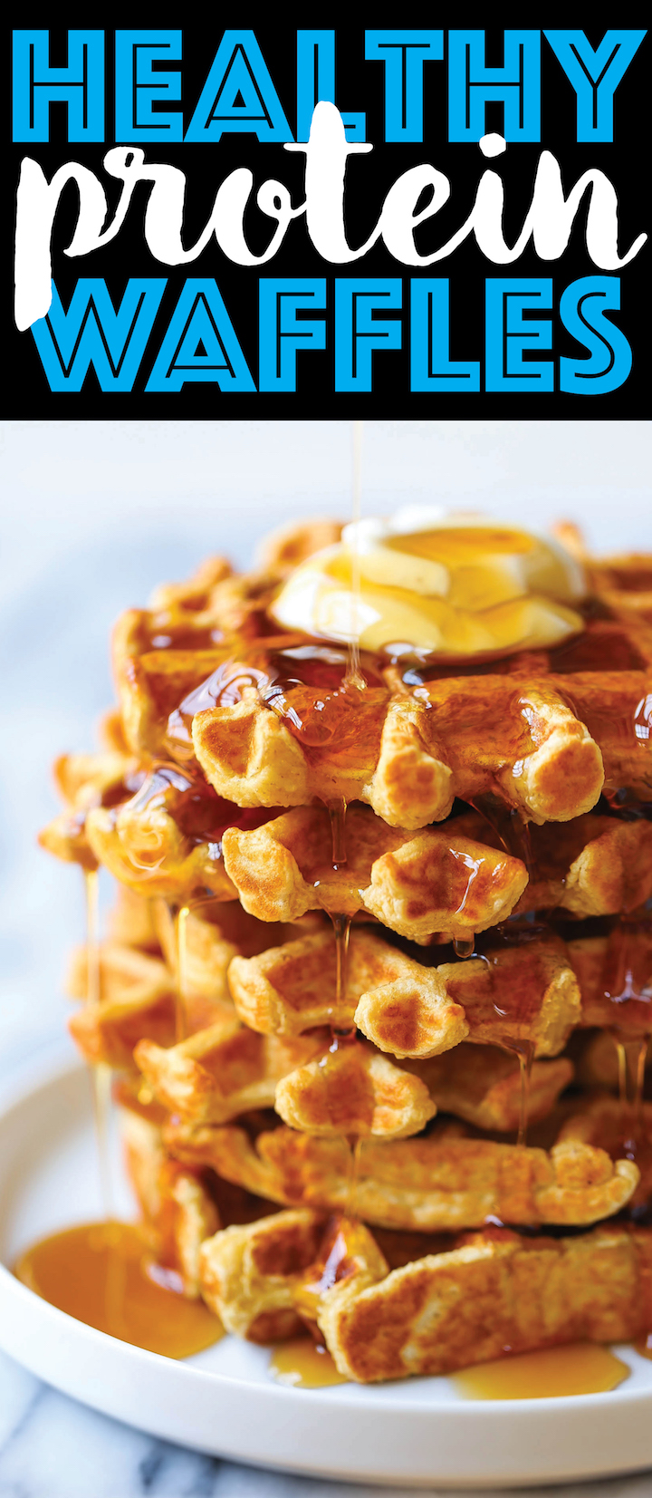 Healthy Protein Waffles - Start your day right with these freezer-friendly waffles made right in a blender! So filling with 276.1 calories and 20g protein!!