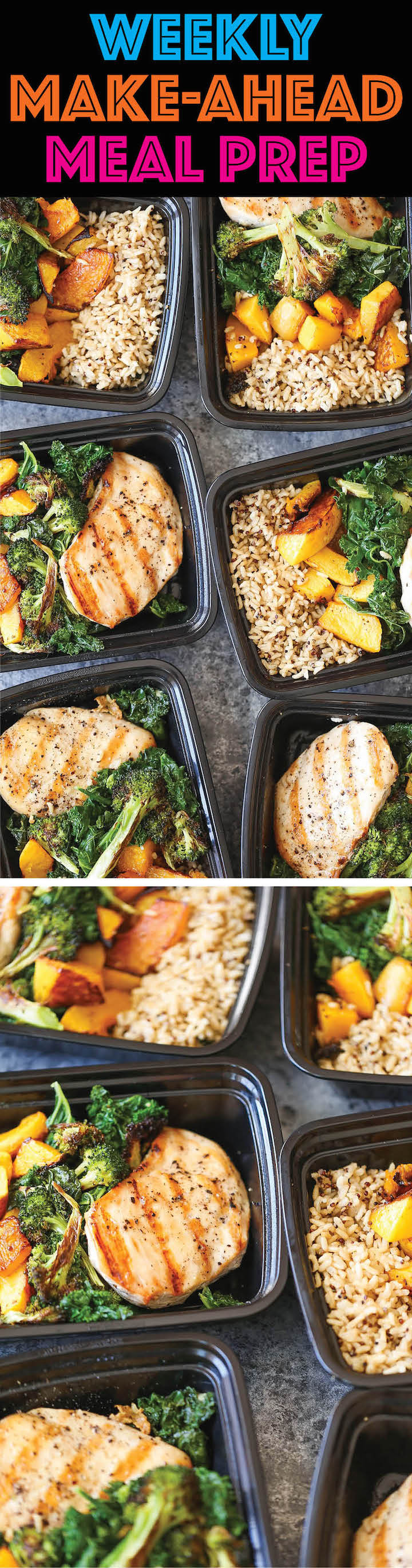 Weekly Meal Prep - Plan ahead and make healthy choices all week. You can stay on track eating for the week (great for portion control) and save money/time!