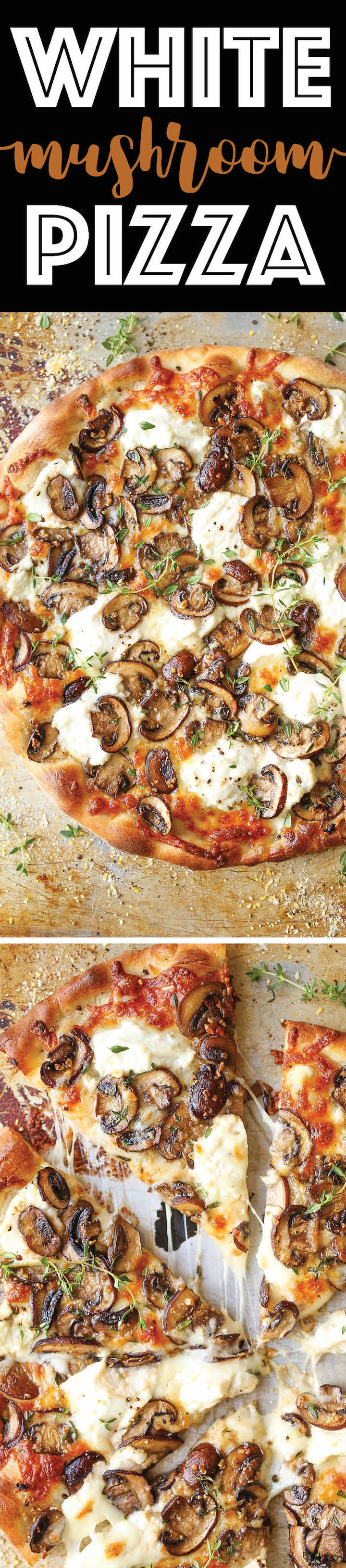 White Mushroom Pizza Recipe via Damn Delicious - The BEST pizza for all cheese and mushroom lovers! Loaded with 2 types of cheese and garlic herb sautéed mushrooms!! AMAZING.