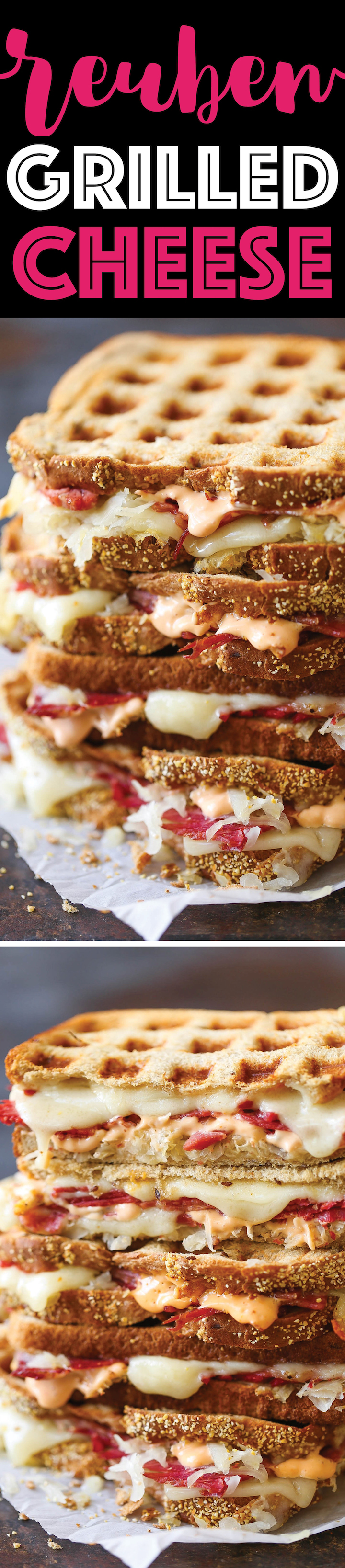 Reuben Grilled Cheese - A classic American sandwich! Corned beef, melted Swiss, sauerkraut, and Thousand Island dressing. So cheesy and just so darn easy!