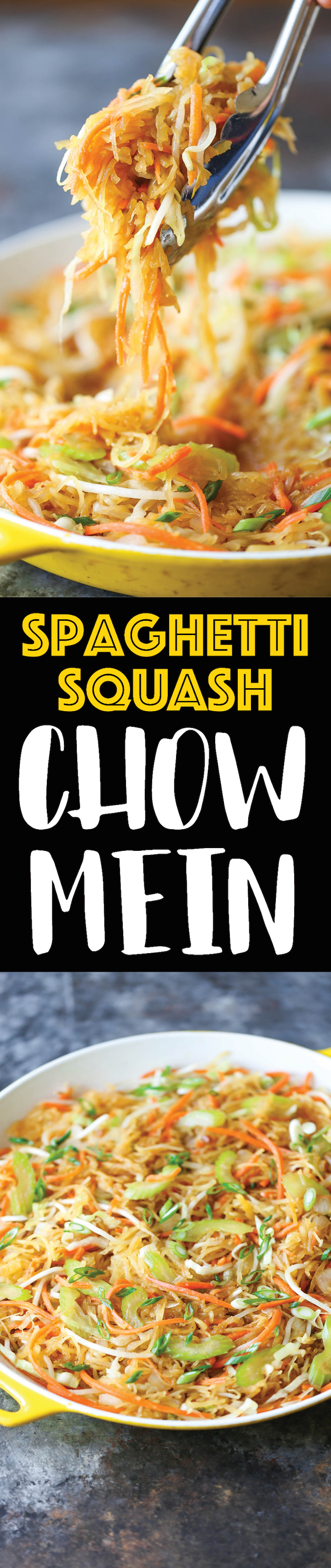 Spaghetti Squash Chow Mein - A healthier low-carb version of everyone's favorite takeout dish. Even your picky eaters will love this! Only 299 cal/serving!