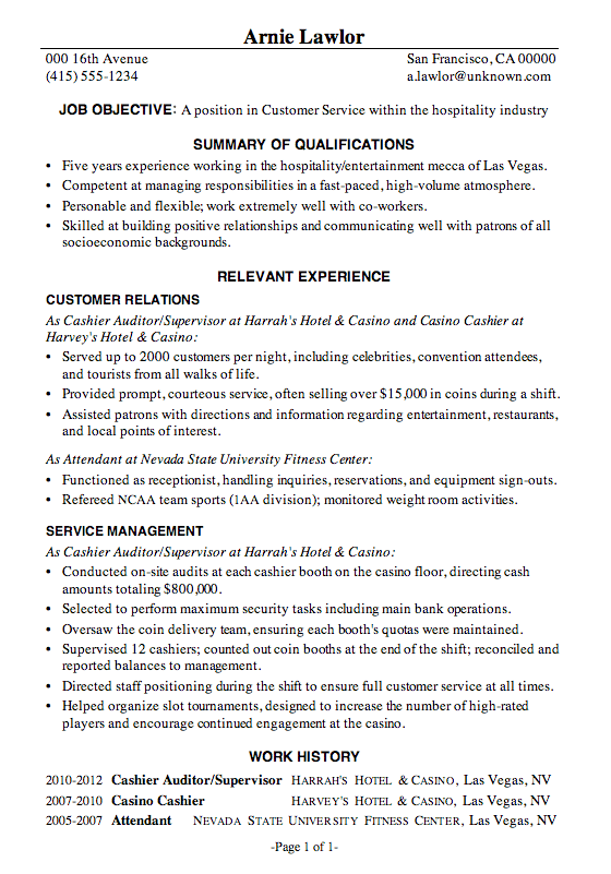 Resume Sample Customer Service Hospitality  Entertainment Industry Resume