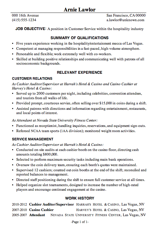 resume sample customer service hospitality - Hospitality Resume