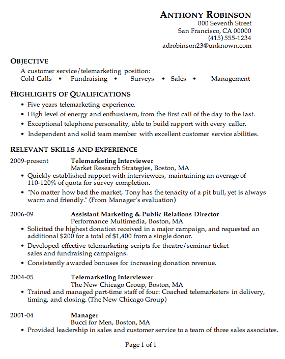 Elegant Resume Sample Customer Service Telemarketing To Telemarketer Resume