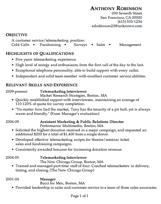 Resume Sample Customer Service Telemarketing