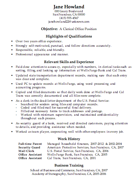 Perfect Resume Sample Clerical Office Work With Clerical Job Resume