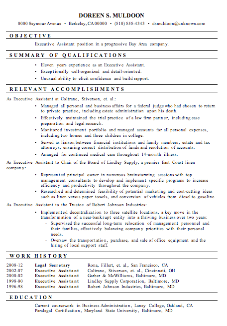resume sample executive assistant - Sample Executive Resume