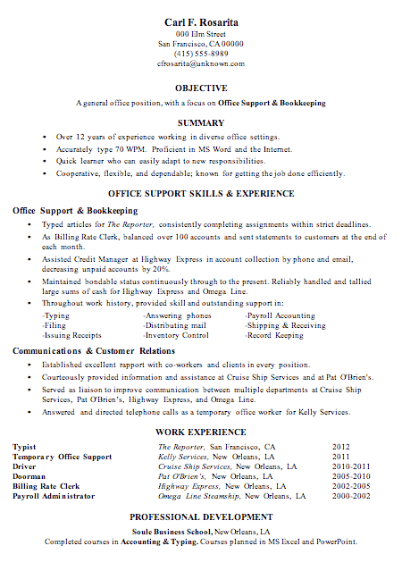 Resume Sample Office Support Bookkeeping  Resume For Bookkeeper