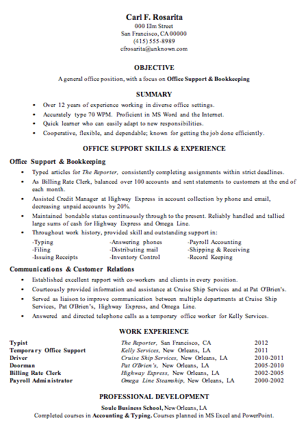 Resume Sample Office Support Bookkeeping