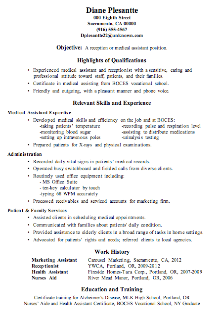 resume sample receptionist or medical assistant