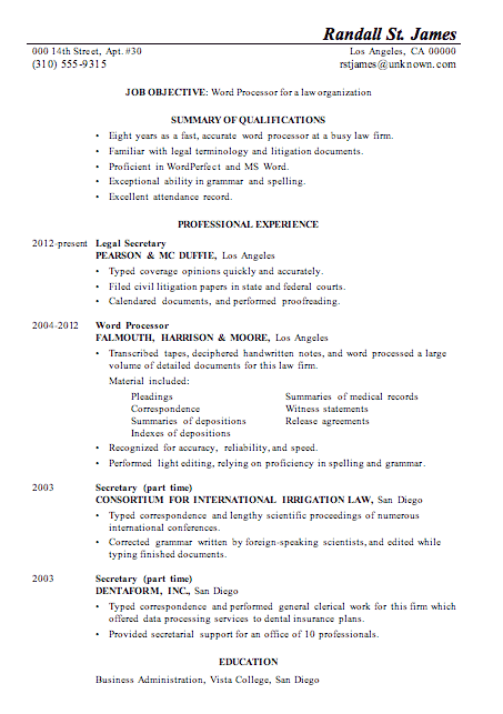 Perfect Resume Sample Word Processor Law Firm