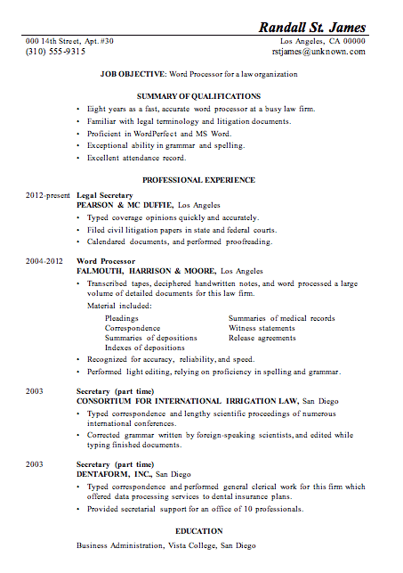 Resume Sample Word Processor Law Firm