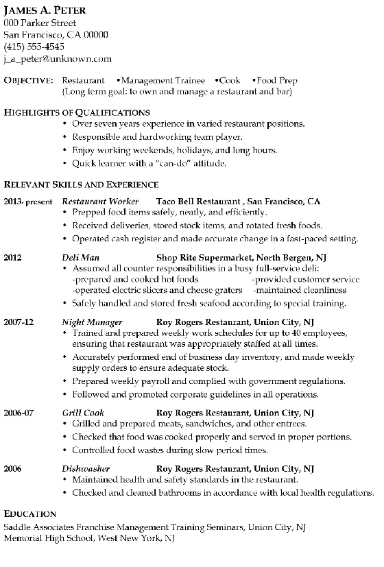 Resume Sample Restaurant Management Trainee Or Cook