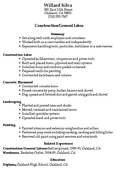 superior resume samples construction trades and labor good resume templates general labor general laborer general laborer - Labourer Cv