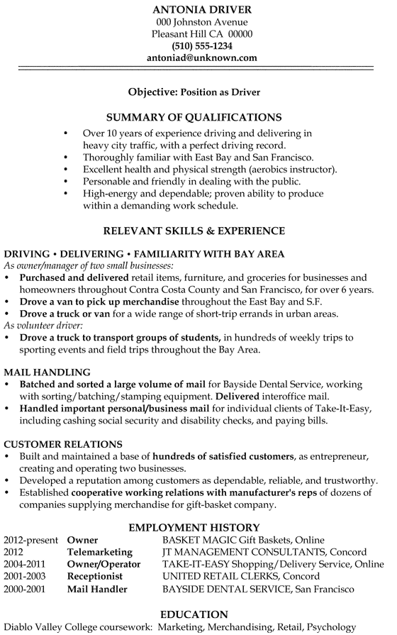 resume sample driver