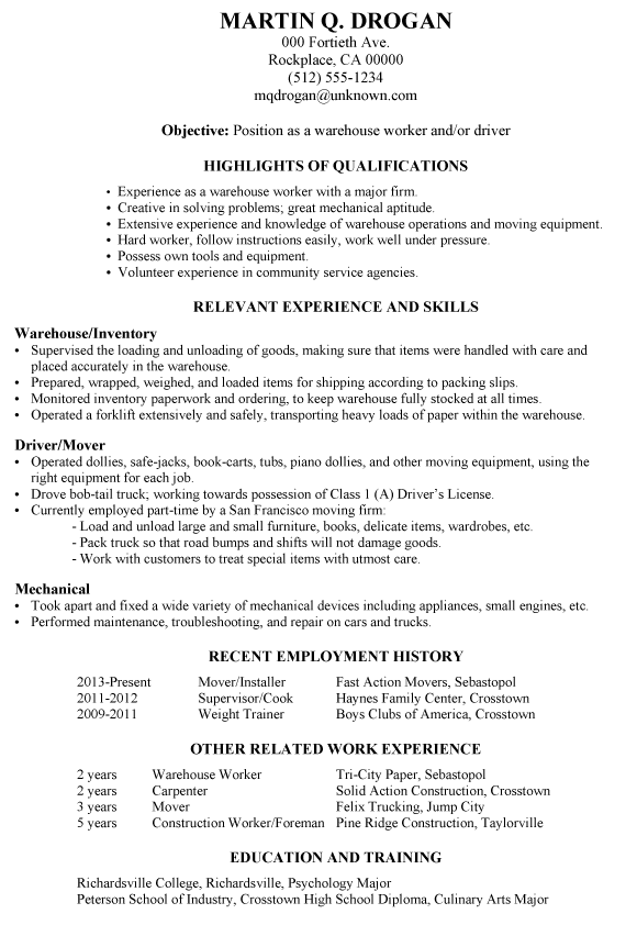 resume sample for a warehouse worker andor driver