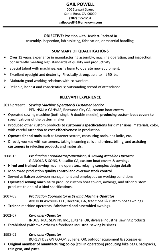 resume sample assembly inspection fabrication - Production Resume Sample