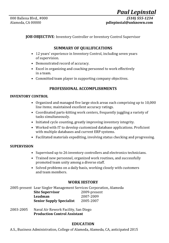 Functional Resume Sample Inventory Control Supervisor