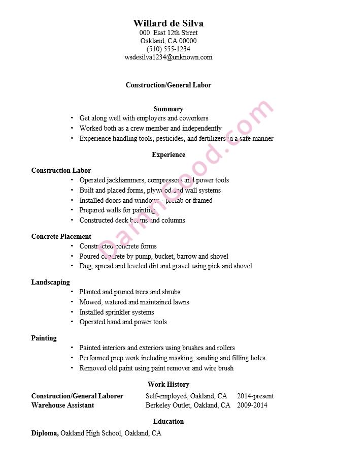 Resume Sample Construction General Labor