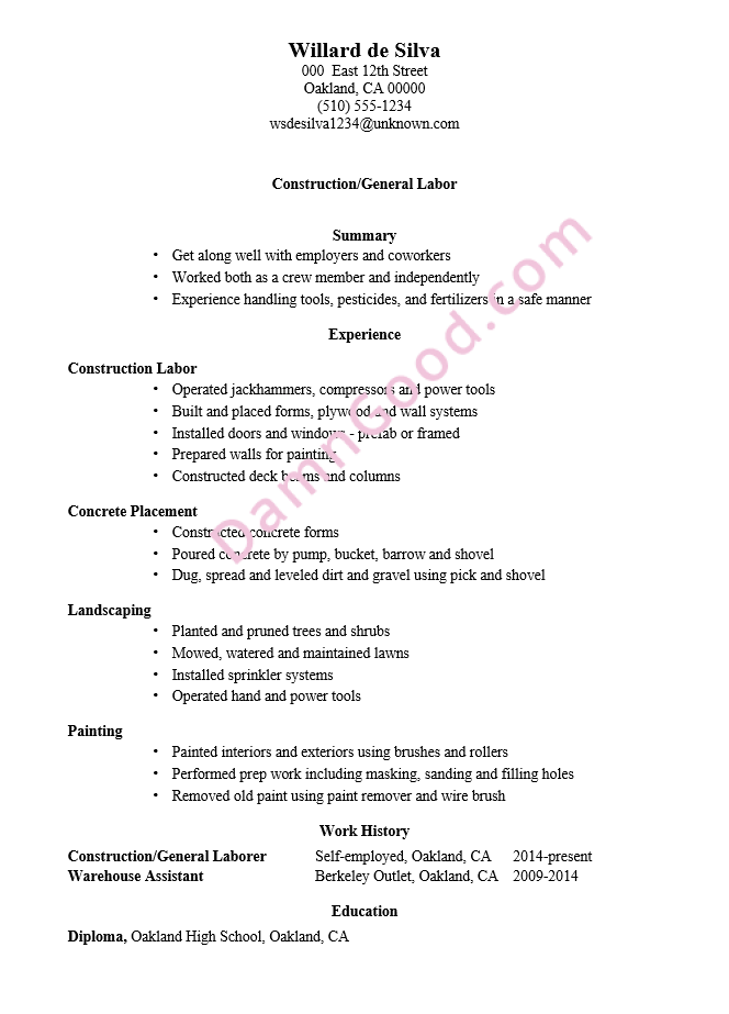 resume sample construction general labor - Resume Template Without Education