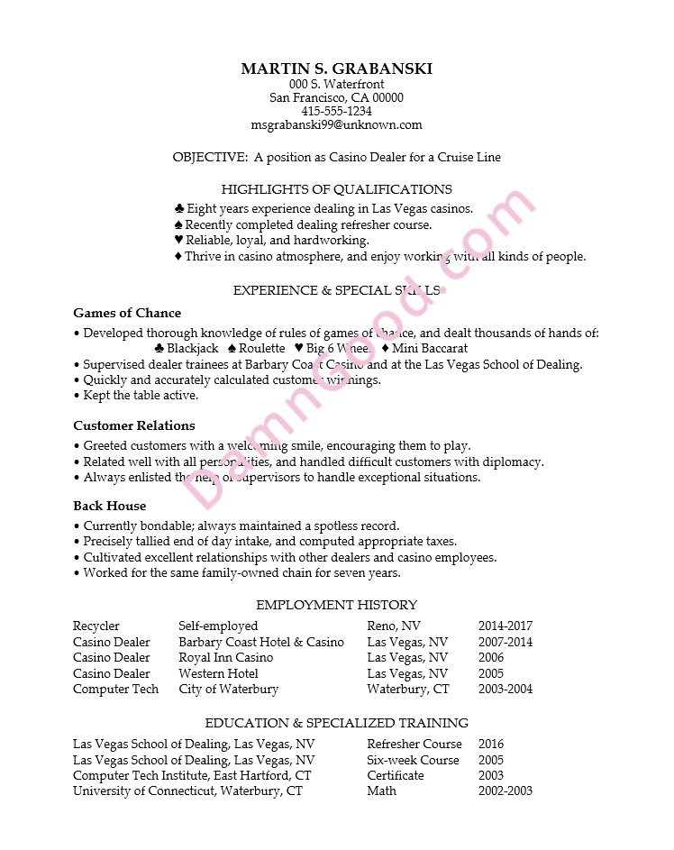Resume Example for a Casino Dealer - Damn Good Resume Guide
