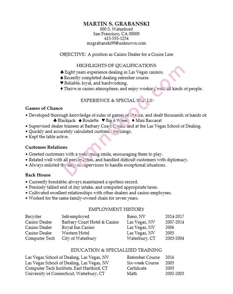 Resume for a casino dealer