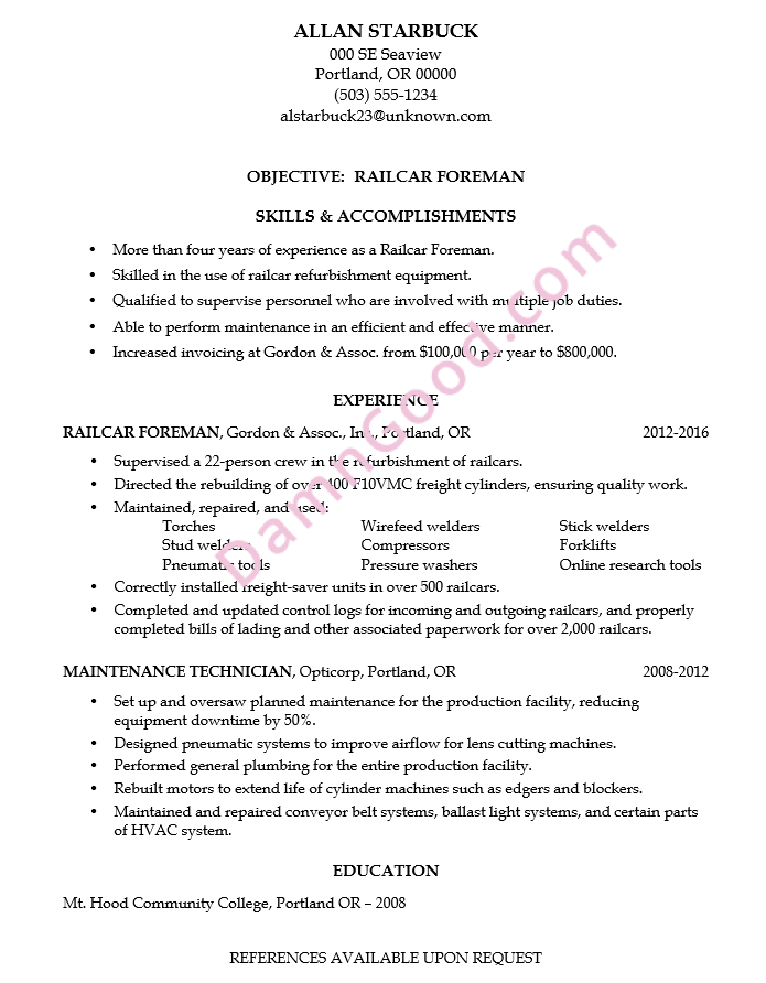 Resume Sample Rail Car Foreman