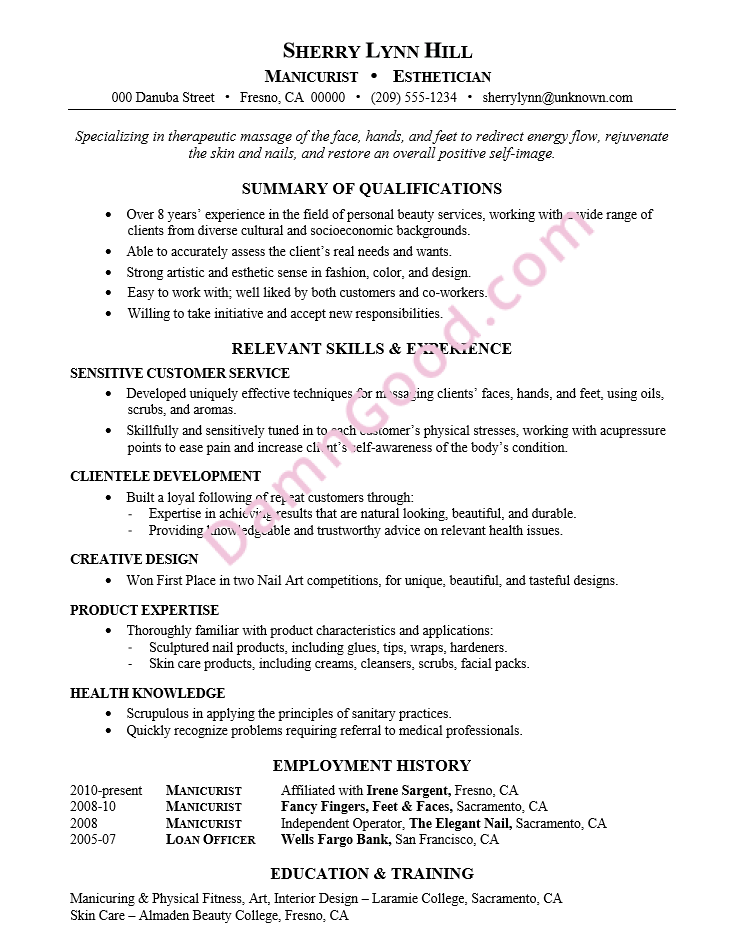 more resume help - Resume Samples For Estheticians