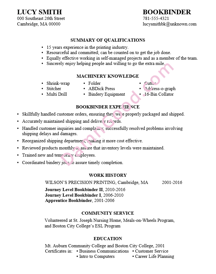 lucys resume sample for a bookbinder position. Resume Example. Resume CV Cover Letter