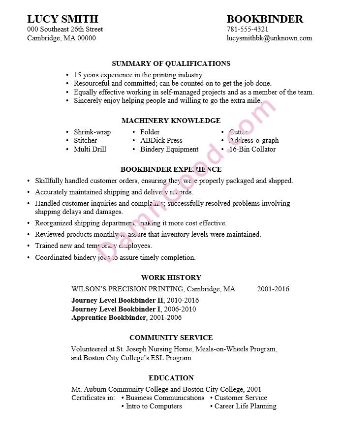 resume-example-bookbinder