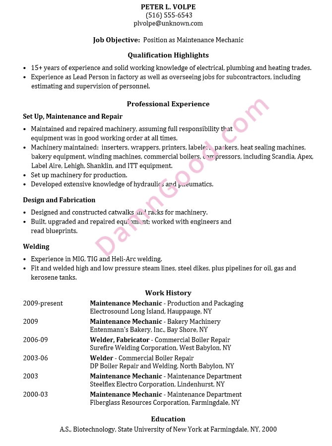 resume sample  maintenance mechanic