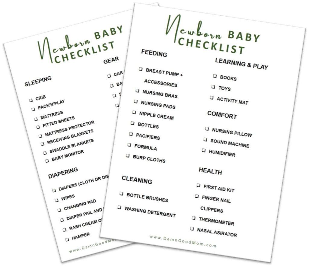 Baby Checklist Necessities For A Newborn Free Printable Damn Good Mom