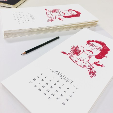 Nicci's AUGUST calendar page (screen print)