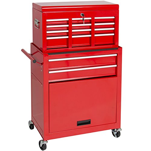 Best Choice Products Portable Top Chest Rolling Tool Storage Box Cabinet  Sliding Drawers: