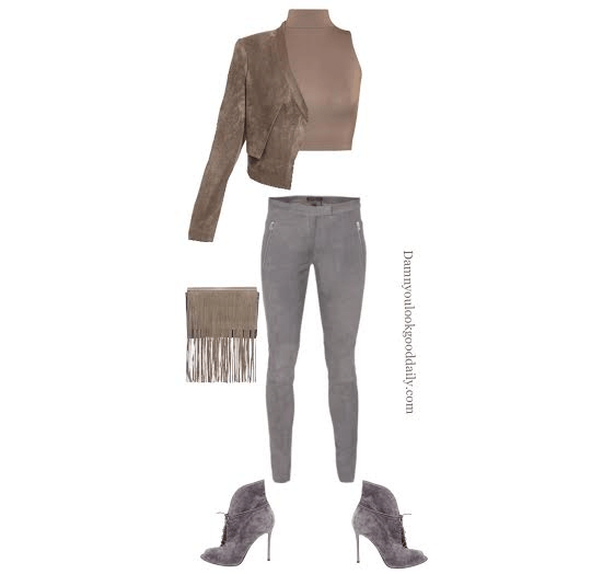 How to wear open toe booties in the fall suede jacket jacket brown crop music suede gray jeans and guiseppe zanotti lace up open toe bootie with a fringe bag