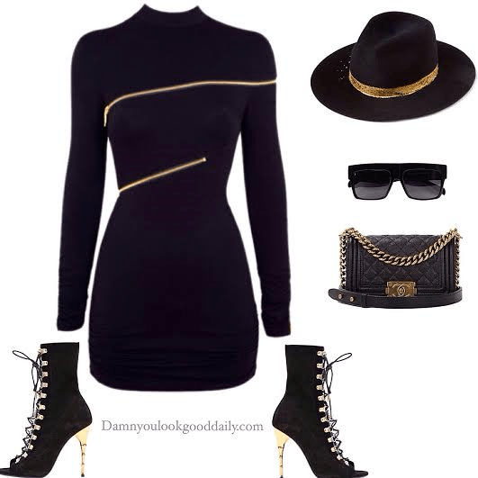 Fall open toe balmain booties with a black dress and a hat and chanel bag