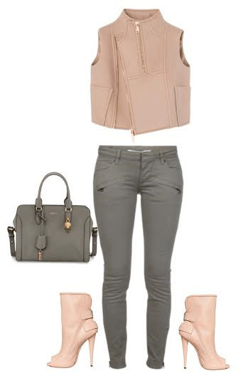 How to wear open toe booties in the spring blush vest gray jeans and guiseppe zanotti open toe booties