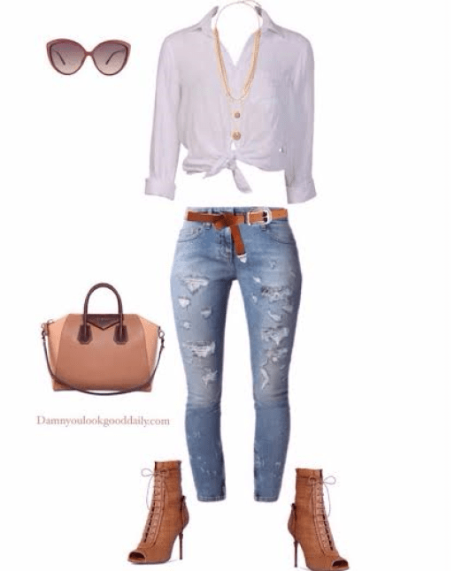 a fall spring outfit with a white a white button down tie up shirt ripped jeans and a guiseppe zanotti lace up booties and a givenchy tote bag