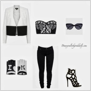 peter-pilotto-bustier-top-jbrand-skinny-jeans-white-black-blazer-guiseppe-sandals-retro-cateye-sunglasses