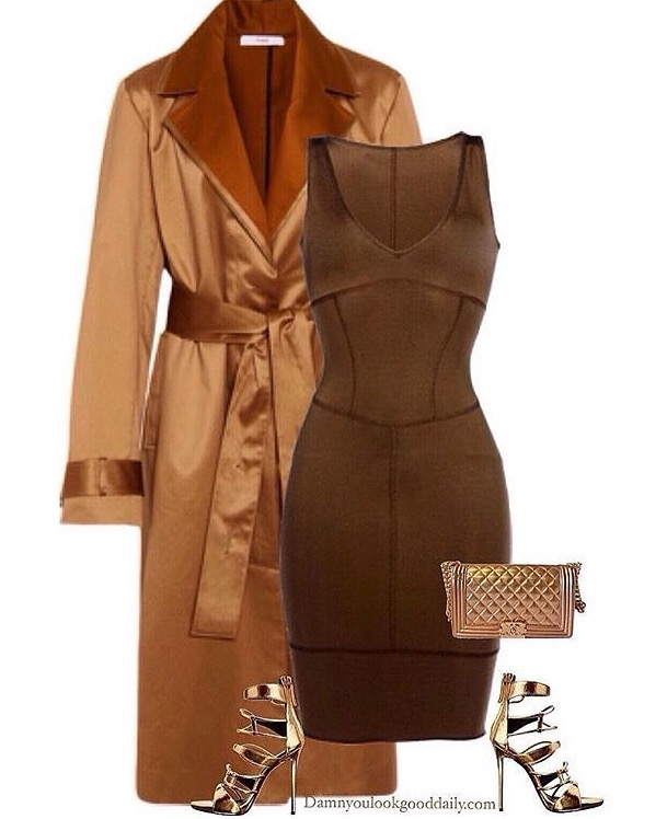 fall and winter wedding outfit idea with gold coat brown dress gold heel and a gold chanel bag