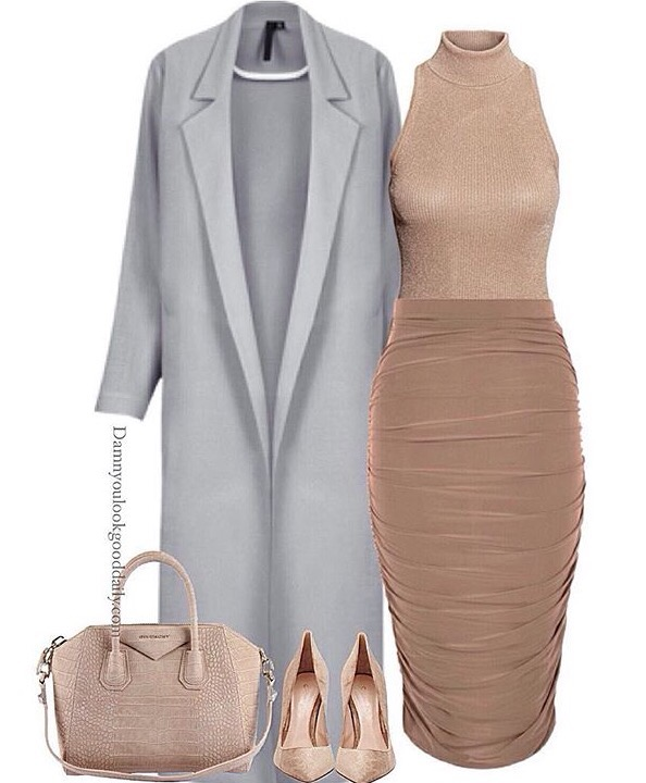 Work office outfit for winter nude pencil skirt nude turtleneck and grey long coat givenchy bag nude pumps