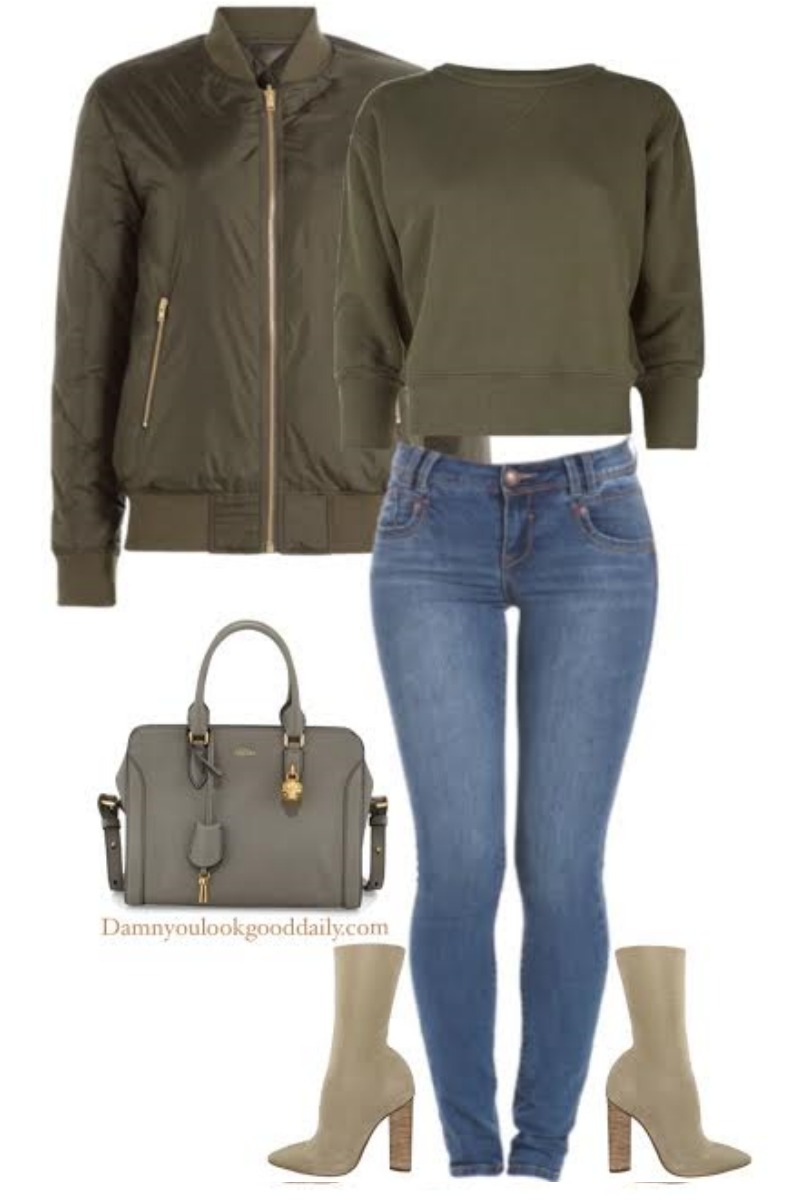 e6e15c009b5f7 fall-winter-outfit-ideas-yeezy-ankle-boots-green-bomber-jacket-jeans ...