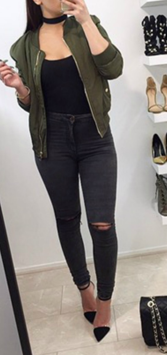 green-bomber-jacket-gray-ripped-jeanss