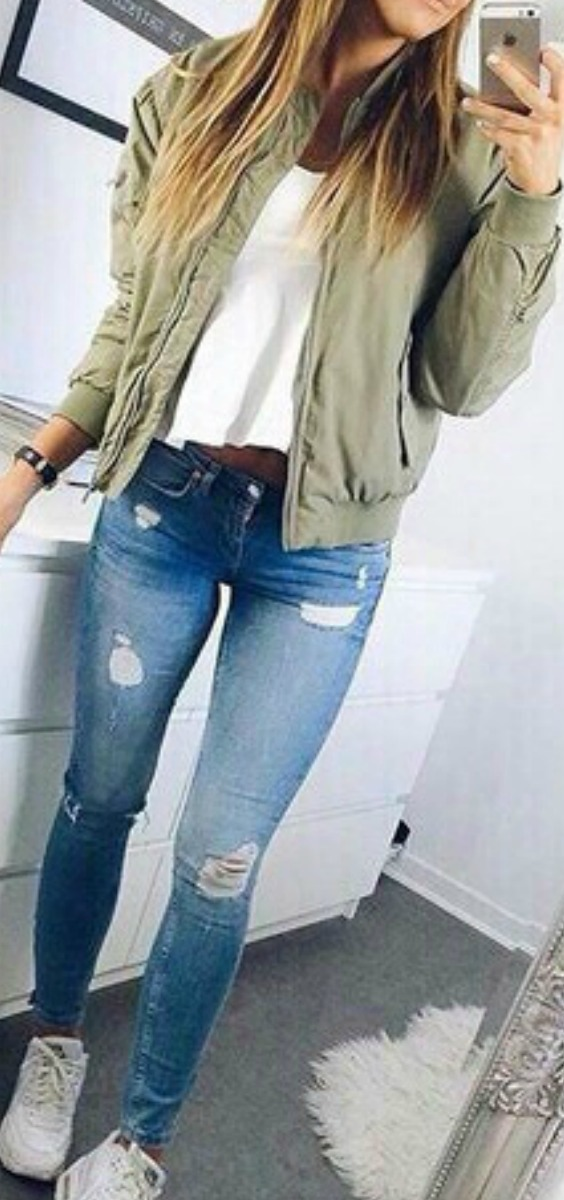 green-bomber-jackets-ripped-jeans-sneakers-outfit-ideas-teen-girls-fashion