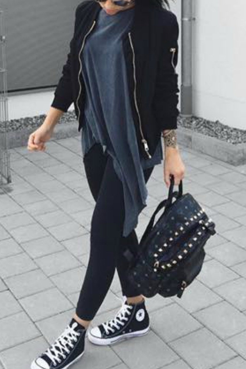 how to wear black leggings in fall