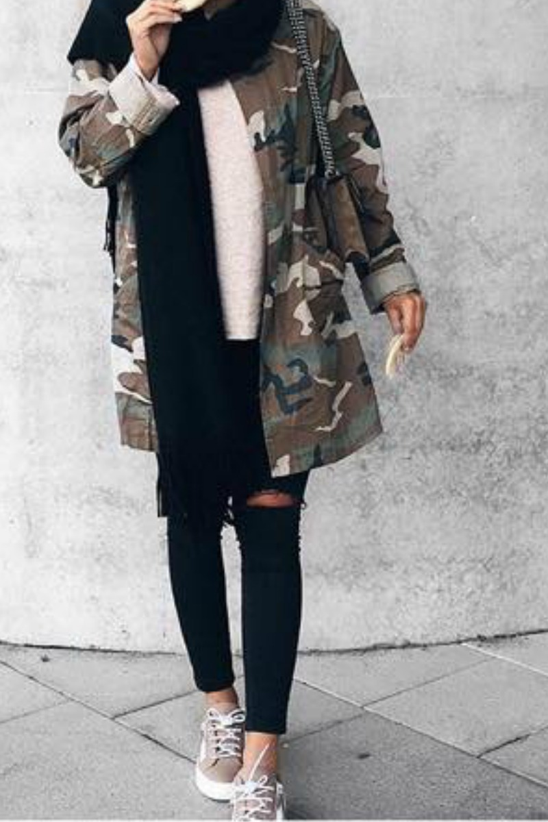 a teen girl wearing a street style Edgy Fall Outfit Idea nice Layered Look with a scarf and a Camo Jacket